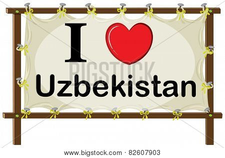 Illustration of I love Uzbekistan banner