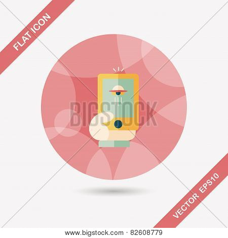 Space Ufo Photo On Cell Phone Flat Icon With Long Shadow, Eps10