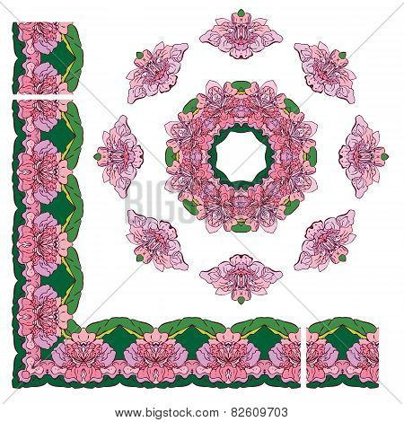 Set Of Ornaments - Circle And Rectangular Frames, Floral Borders With Tropical Flowers And Leaves