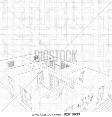 3d sketch of a house. Geometric lines. Concept of architect project, architecture design