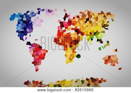Low poly colorful world map. Perfect, high resolution background