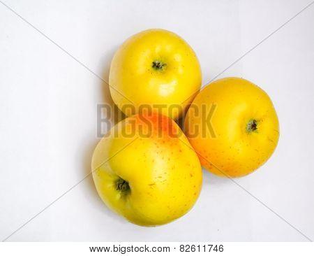 three yellow ripe apples