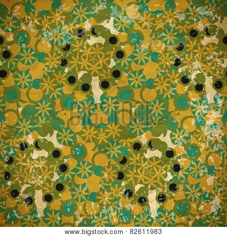 Abstract Seamless Pattern Of Green And Blue Flowers On A Faded P