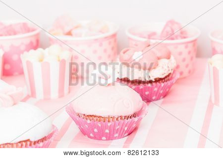 dessert table at girls birthday party