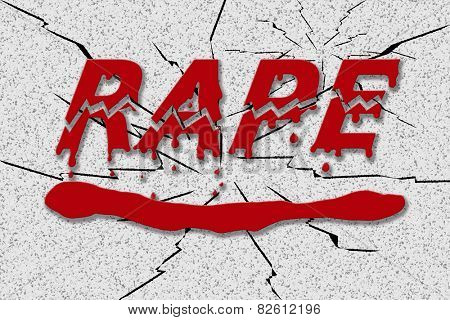 Word rape in red dripping blood, on grungy shattered background - concept of stopping rape