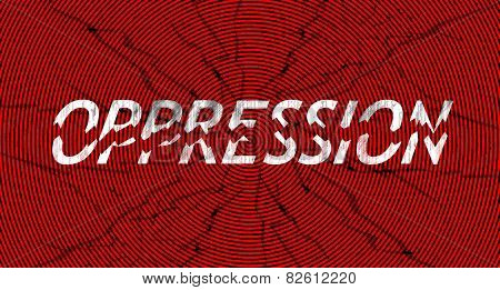 Word oppression broken in pieces, in grungy style - a concept of breaking down oppression