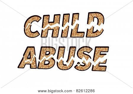 Child abuse text broken in pieces, on white background - concept of stopping child abuse