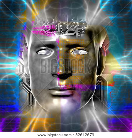 Cyborg artwork with computer electronics