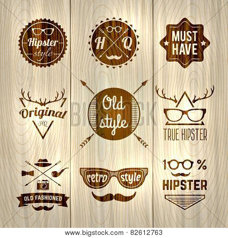 Hipster Labels Wooden