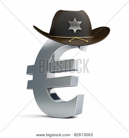 Euro Sign Sheriff Hat On A White Background