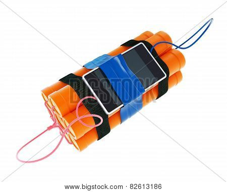 Dynamite Mobile Phone Time Bomb On A White Background