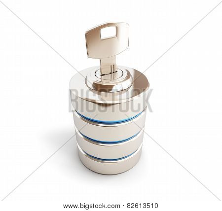 Database Icon Close Key 3D Illustrations On A White Background