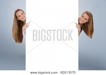 Portrait of wo long hair women back of a blank sign against grey vignette