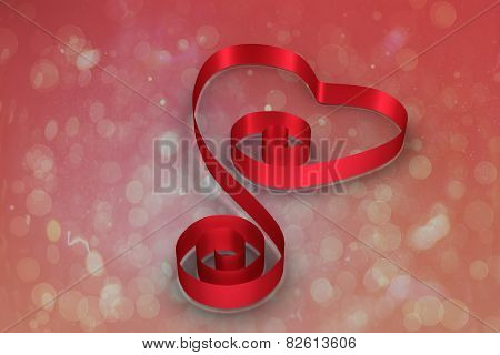 Red ribbon heart against red abstract light spot design