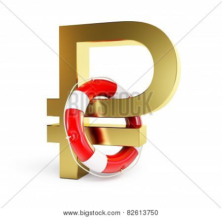 Sign Of Russian Ruble Lifebuoy On A White Background