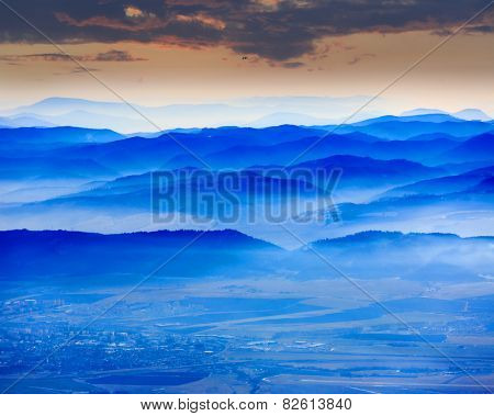 Nice scene with blue mountain's valley