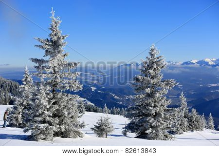 Winter scene in Slovakia, view from Kubinska Hola Ski Park