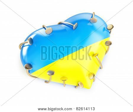 Heart With The Flag Of Ukraine Nailed