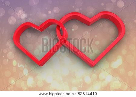 Linking hearts against pink abstract light spot design