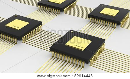 Computer multi-core microchip CPU isolated on white background