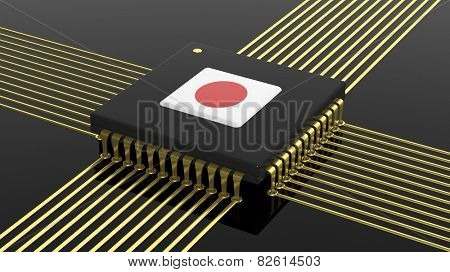Computer CPU with Japanese flag isolated on black background