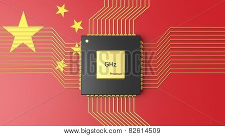 Computer CPU with flag of China background