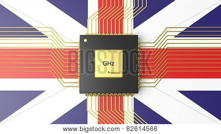 Computer CPU with flag of United Kingdom background