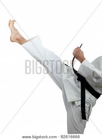 Man beats kick mae-geri on a white background