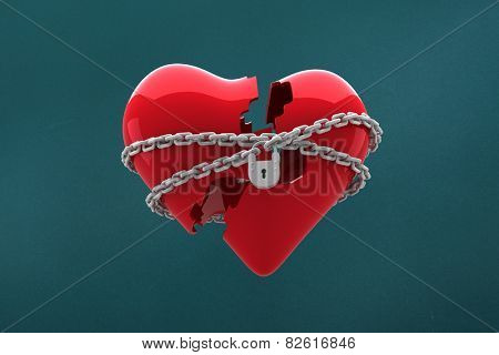 Locked heart against teal