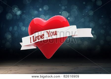 Heart with scroll against shimmering light design over boards