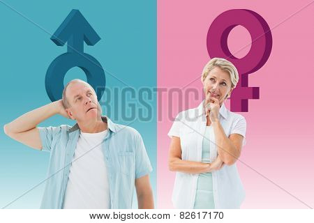 Happy mature blonde thinking with hand on chin against female gender symbol