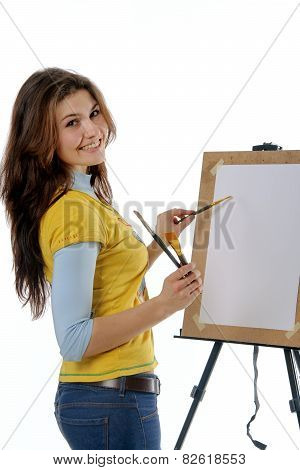 Artist Draws On Her Easel