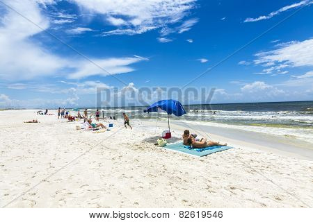 People Enjoy The Beautiful Beach At Niceville