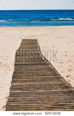 Wooden path on the beach