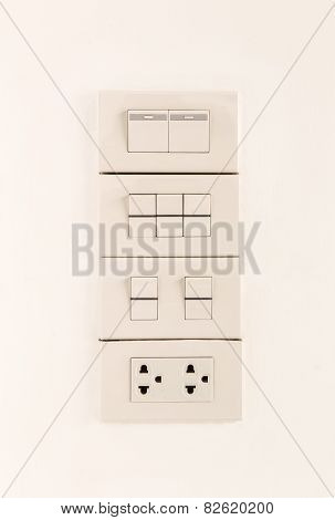 Electric Light Switches In Of Position And Sockets