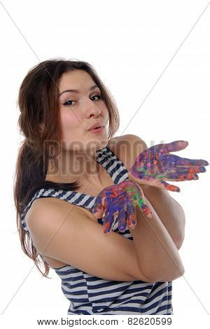 Woman Shows Her Hands Painted In Colorful Paint