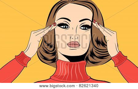 Pop Art Retro Woman In Comics Style With Migraine