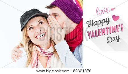 Handsome man with hat telling a secret to his laughing girlfriend against a white background against cute valentines message