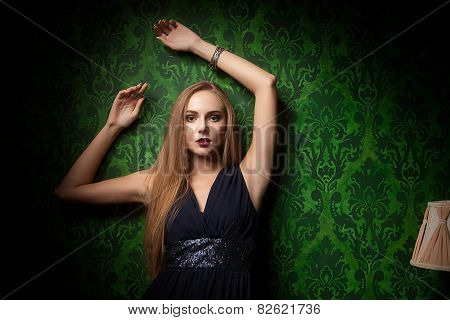 Gorgeous Woman On Green Vintage Wall
