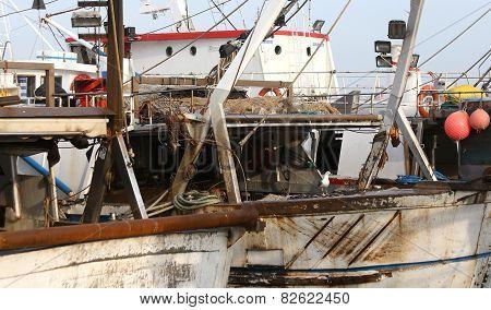 Big Fishing Vessels In Sea Harbor