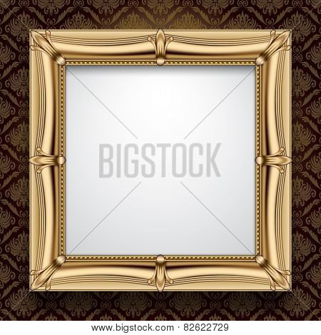 Classic gold frame on vintage background