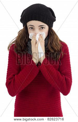 Sick Flu Woman Sneezing