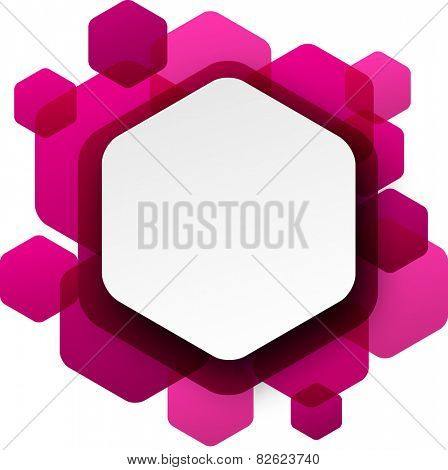 Vector illustration of white paper hexagonal speech bubble over magenta background. Eps10.