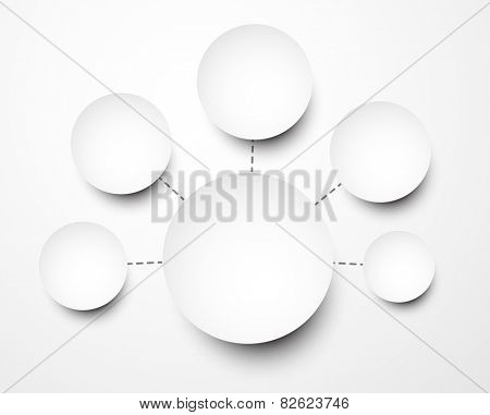 Abstract infographics composed of round paper notes. Vector illustration.