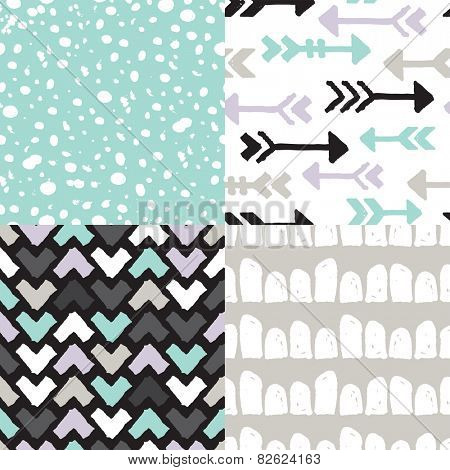 Seamless geometric raw arrow triangle dots and spots abstract background pattern in vector