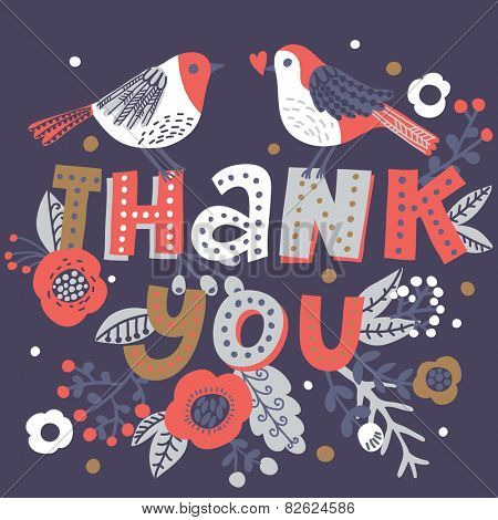 Winter colored Thank you card. Stylish floral background with text and cute cartoon birds in vector. Thank You Print Design