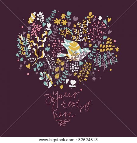 Awesome summer card in cold colors . Floral design for ideal wedding invitations in vector. Romantic card made of flowers with cute bird in fantastic flowers