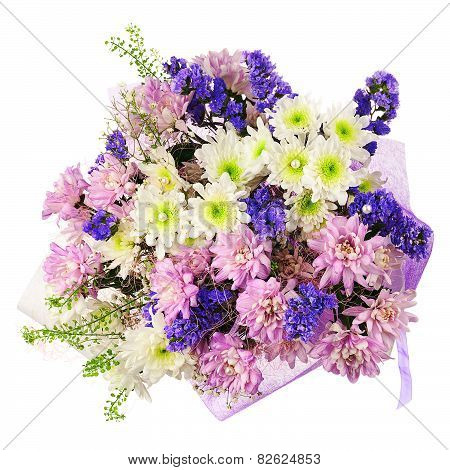 Bouquet Of Gerbera, Carnations And Other Flowers In Blue Package.