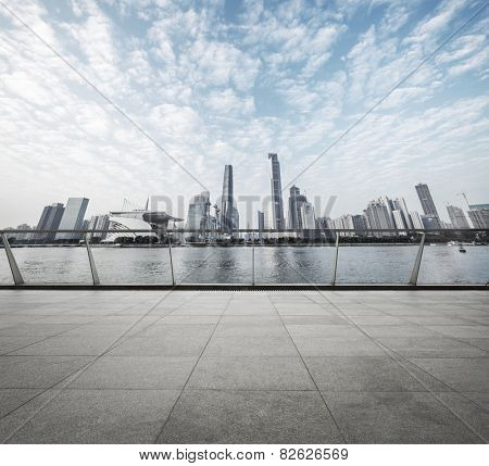 modern road with skyline and cityscape background