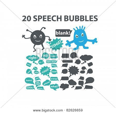 20 speech, bubbles, ideas flat isolated icons, signs, illustrations vector set on background